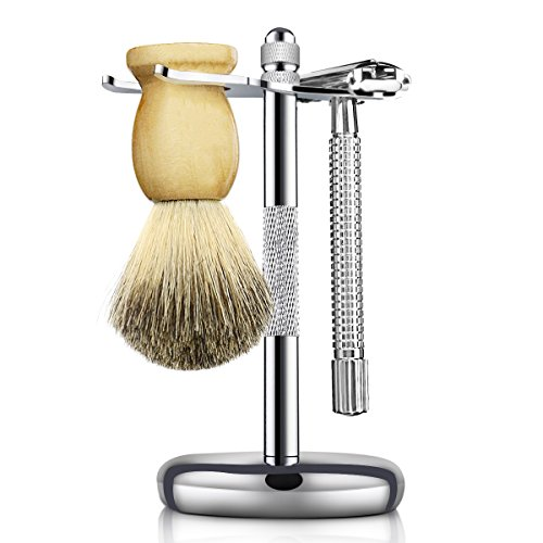 - Temlun Shaving & Grooming Sets - Safety Butterfly Razor, Badger Hair Shaving Brush, Shaving Stand (Silver)
