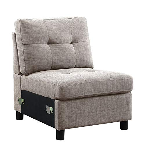 Gray Linen Fabric Modular Sectional Sofa Assembly, Armless Chair