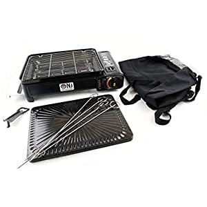 NJ Camping Portable Gas Barbecue Stove Grill BBQ Butane Burner Cooker 2200W Bag