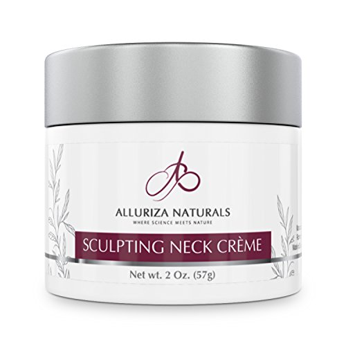 Sculpting Neck Crème by Alluriza Naturals, Anti-Aging Cream for Firming, Tightening Skin, Helps Double Chin, Crepe, Sagging, Natural Moisturizer with Apple Stem Cells, Matrixyl, Green Tea Extract 2oz - Neck Cream
