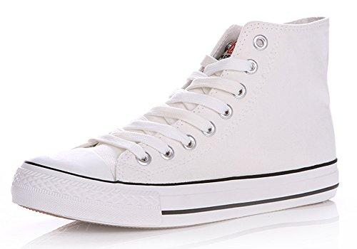 Legend E.C Mens or Boys High Top Canvas Shoes Fashion plimsolls Shoes Lace Up Trainers White 1GEhQj8