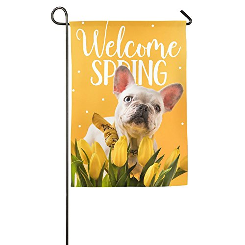 Seasons Outdoor 4 (MIMIToo Four Seasons Garden Flags,Double-Sided Outdoor Decorative Flags,French Bulldog Dog and Beautiful Yellow Tulips with Weather Resistant & Double Stitched - 12 x 18 Inch)