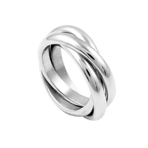 Triple band Ring (Three band ring - Russian Wedding Ring) - 3 rolling bands ring stainless steel Womens Rings. Eternity Trinity Purity Ring Anniversary Gifts Commitment Ring. I Love you Gifts (6) (Rolling Wedding Ring Steel Stainless)