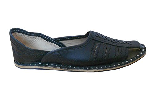 Kalra Creations - Zapatillas de estar por casa de Piel para hombre negro