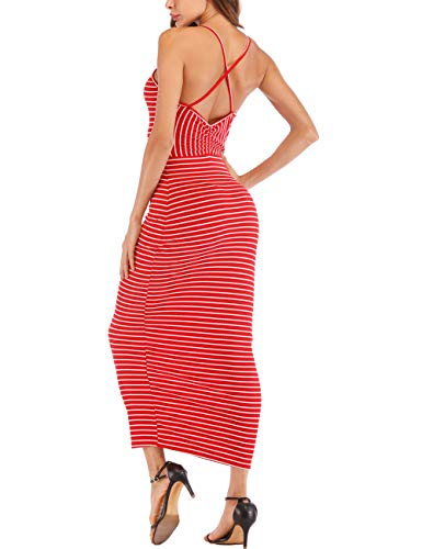 - Haola Womens Sexy Club Dress Stripe Backless Sleeveless Bodycon Party Casual Long Dresses Red Stripe S