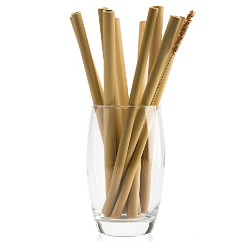 Organic Bamboo Straws with Coconut Fiber Brush 20cm 8