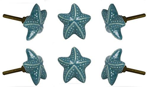 (Set of 6 Ceramic Starfish Drawer Knobs Kitchen Cabinet Dresser)