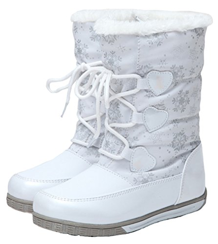 Girls Weather Cotton Cold Boot Boot Cozy Short Pointss White Snow Waterproof Boot Boot Winter Princess Camping Printed dxCgq
