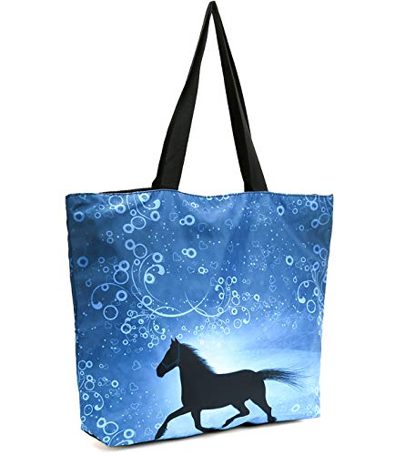 - ICOLOR Running Horse Large Reusable Eco-friendly Shopping Bag Handle Case Bag,Unisex Portable Shoppers Bag Convenient Storage Tote Bags,Travel Shopping Grocery Shoulder Bag(GymBag-18)