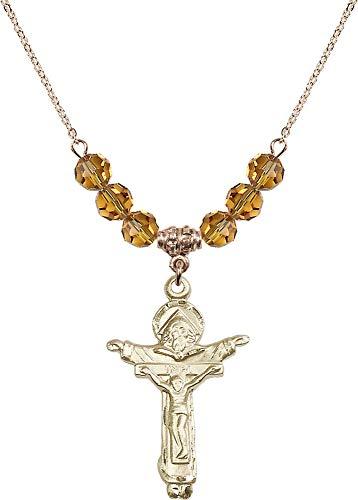 Bonyak Jewelry 18 Inch Hamilton Gold Plated Necklace w/ 6mm Yellow November Birth Month Stone Beads and Trinity Crucifix ()