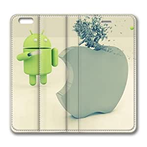 Android versus Apple Standing Leather Smart Cover Case Exclusive for iPhone 6 Screen