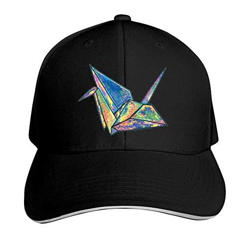 (ADBOSS Color Origami Crane Adjustable Baseball Caps Vintage Sandwich Hat Sandwich Cap Peaked Trucker Dad Hats Black)