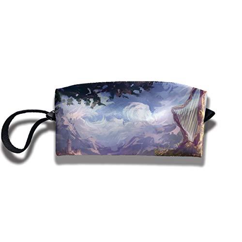 Kla Ju Portable Pencil Bag Cosmetic Pouch Harp Nature Stationery Purse Storage -
