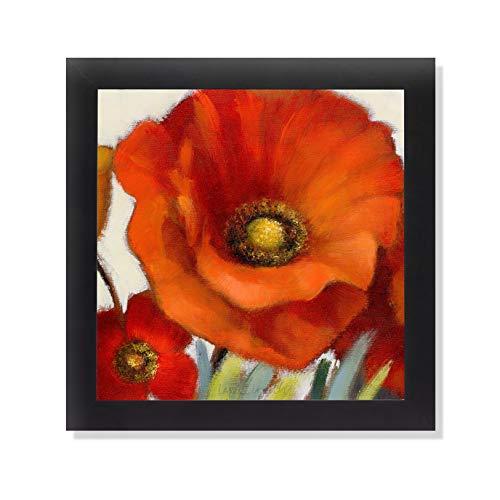 Poppy Splendor Square I Black Framed Art Print Poster 12x12