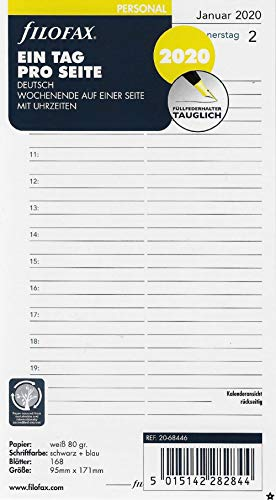(Filofax Personal Calendar Insert Day on 1 Page 2020)
