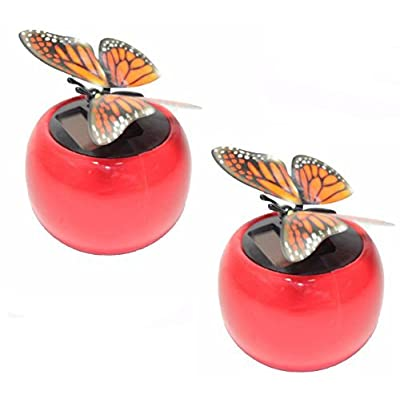 KT Set of 2~ Dancing Butterfly in Assorted Colors Pot Flip Flap Wings Bobble Plant Solar Toy Birthday Easter Gift: Toys & Games