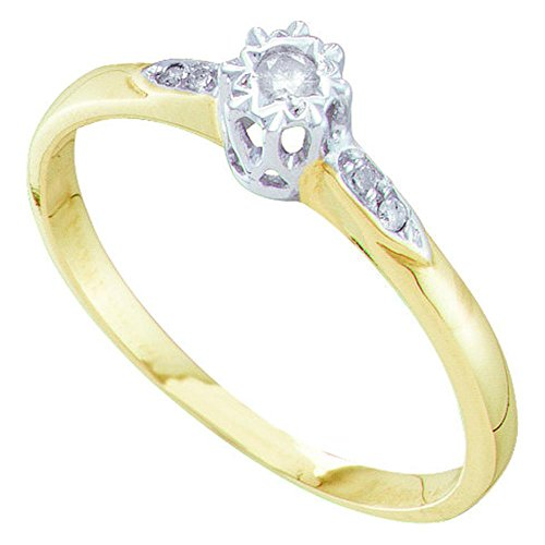 Round Diamond Fashion Ring Solid 10k Yellow Gold Promise Band Bridal Style Small Solitaire Fancy 1/20 ctw (Small Genuine Round Solitaire)