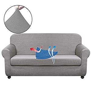 Chelzen Stretch Sofa Covers Living Room 2-Piece Couch Covers Striped Furniture Protectors Spandex Fabric Dog Sofa Slipcovers