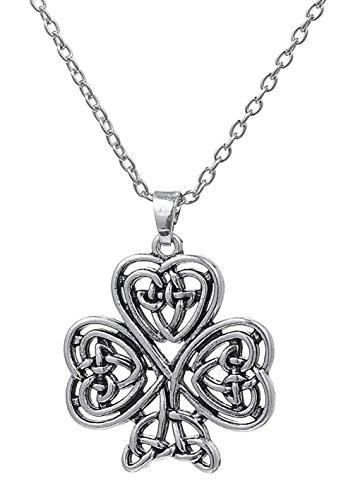 Dawapara Irish Shamrock Christian Trinity Pendant of Good Luck Celtic Knot Necklace 3-Leaf Clover Women Jewelry