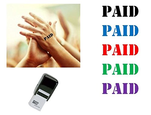 PAID Hand Stamp - suitable for Festivals, Parties, Clubs, Special Events, Bars etc. (Red) (Hand Stamp Custom)