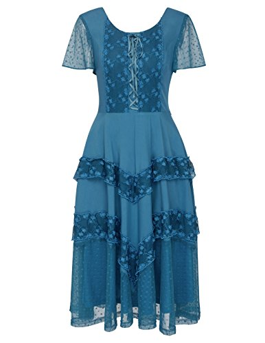 Belle Poque Women Renaissance Gypsy Boho Peasant Dress for Wedding BP502-2 XL Blue