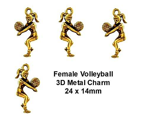 PlanetZia 6pcs 3D Female Volleyball Player Charms - USA Made For Jewelry Making TVT-983 (Antique Gold) 3d Volleyball Charm