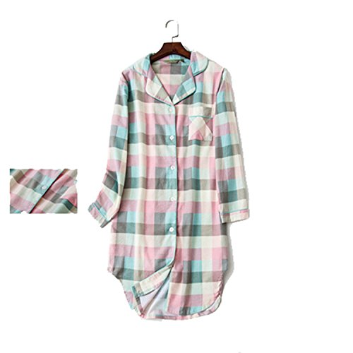 Cotton Thermal Sleepshirt - JIANGTAOLANG New Stripe Plaid Polka Dot Sleepshirts 100% Brushed Cotton Women Nightdress Pink Plaid L
