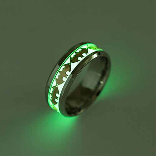 KaiKBax Unisex Luminous Rings Creative 8mm Luminous Ring Women Batman Jewelry Stainless Steel Rings for Men/Women Gift Gold - Batman Ring Of