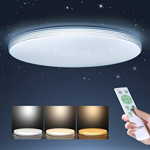 SHILOOK Led-plafondlamp, dimbaar met afstandsbediening, 24 W, sterrenhemel, plafondlamp voor slaapkamer, kinderkamer…