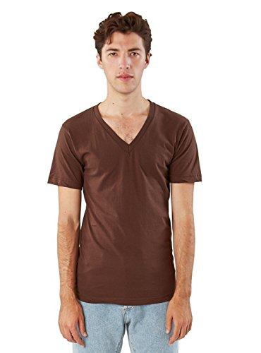 (American Apparel  Unisex Fine Jersey Short Sleeve V-Neck, Brown, Small )