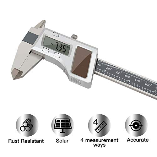 Solar Caliper - Solar Stainless Steel Digital Vernier Caliper,Electronic Ruler Measuring Tool 0-6 Inch/150 mm,Inch/Metric Conversion with Large LCD Screen, by FstDgte