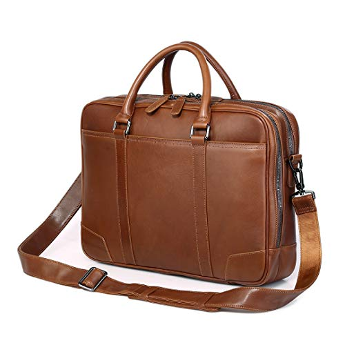 Soft Real Leather Double Zipper Laptop Computer 16'' Business Messenger Bag Shoulder Satchel for Laptop Briefcase Tote