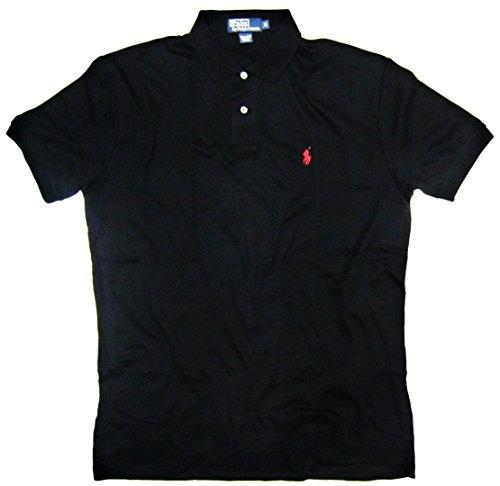Polo Ralph Lauren Mens Polo Shirt, Pique Cotton, Classic Fit (Medium, Black / Red Pony)