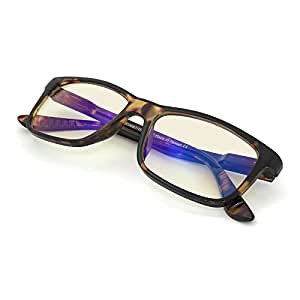 J+S Vision Blue Light Shield Computer Reading/Gaming Glasses - 0.0 Magnification - Anti blue light 100% UV protection - Low Color Distortion Lens, Classic Rectangle Glossy Tortoise Frame