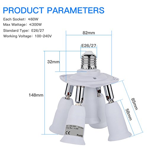 Light Socket Adapter, 5 In 1 Electric Spark Protection E26 E27 CFL Adapter  Energy Saving Heat Resistance Light Bulb Socket Adapter 360 Degrees