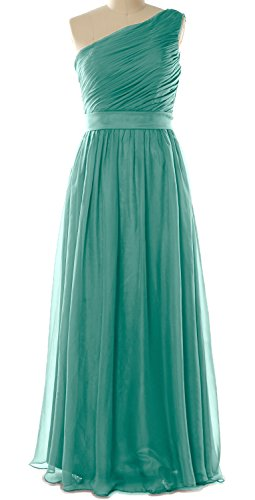 MACloth Women One Shoulder Chiffon Long Bridesmaid Dress Wedding Party Gown (24w, Turquoise)