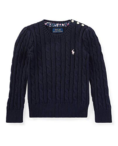Polo Ralph Lauren Girl's Cable Knit Crew-Neck Sweater (Navy/Pink, Small (7))