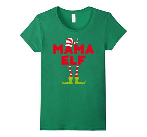 Female Elf Costume Ideas (Womens Mama Elf Costume T-Shirt Funny Matching Christmas Shirt Medium Kelly Green)