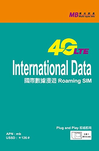 Multi-byte Info 4G LTE International Data Package SIM card (3 GB/30 Days) by Multi-byte Info