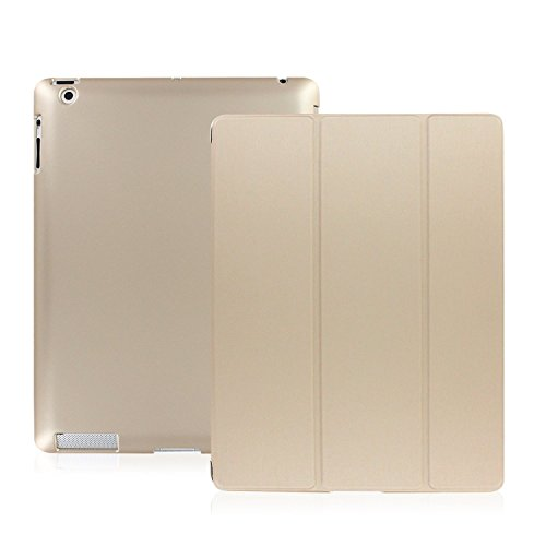 KHOMO - iPad 2 3 and 4 Generation Case - Dual Series - Super Slim Gold Cover with Rubberized Back and Smart Auto Wake Sleep Feature for Apple iPad 2, 3rd and 4th -