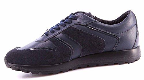 VERSACE sneakers Herren Blau Schwarz Leder Wildleder, Dunkelblau, 40 EU