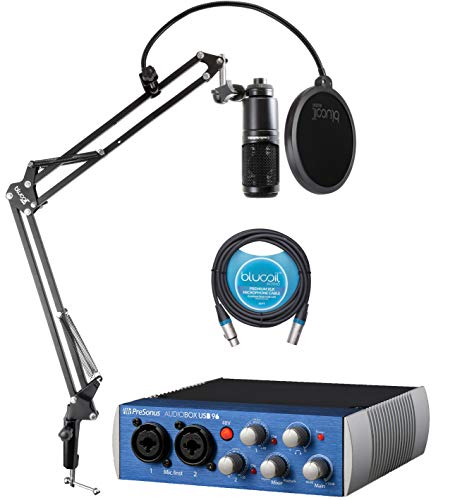 Audio Technica AT2020 Condenser Microphone Bundle with PreSonus AudioBox USB 96 2x2 USB Audio Interface, Studio One Artist Software, Blucoil Boom Arm Plus Pop Filter, and 10-FT Balanced XLR Cable
