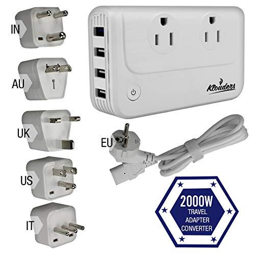 Klouders 2000-Watt Voltage Converters for International Travel Step Down 220v/240v to 110v/120v...