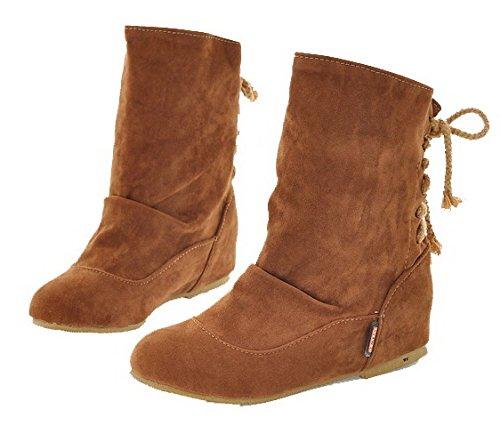 AgeeMi Shoes Mujeres Puntera Cerrada Sólido Cordones Mini Tacón Caña Media Botas Marrón