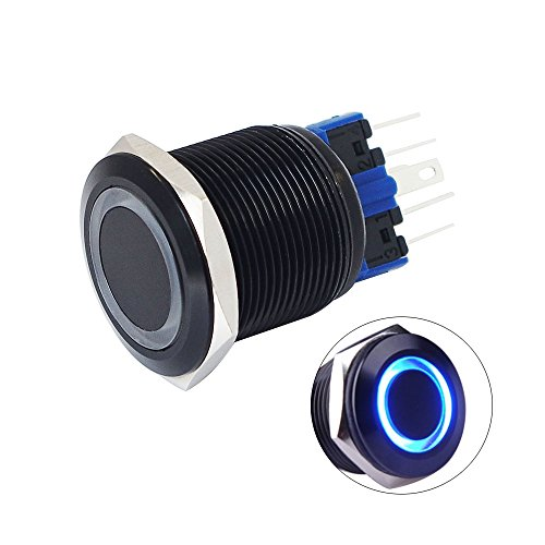 Yakamoz DC12V 22mm 7/8 [Mounting Hole] Blue Ring Led Light Self-locking Latching Push Button Switch ON/ OFF Metal Industrial Boat Car DIY Switch Black