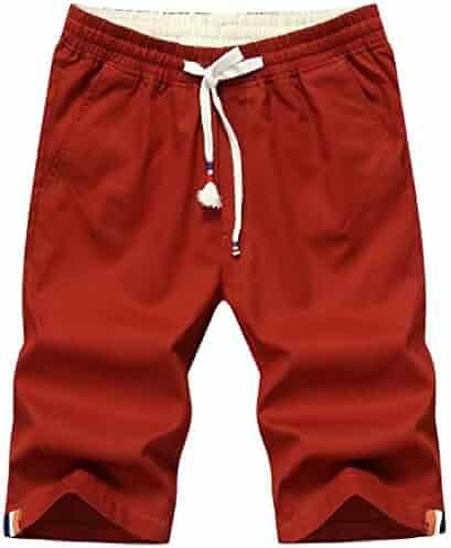 pipigo Men Knee Length Drawstring Casual Sport Contrast Shorts Sweatpants