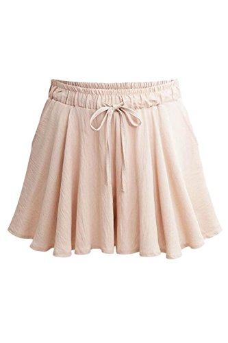 Pantaloncini Casual Dimensioni Merletto Alta Plu Pink Livello Trouses Vita Donne Dei A Estate Le Gamba wqUnZAzaz