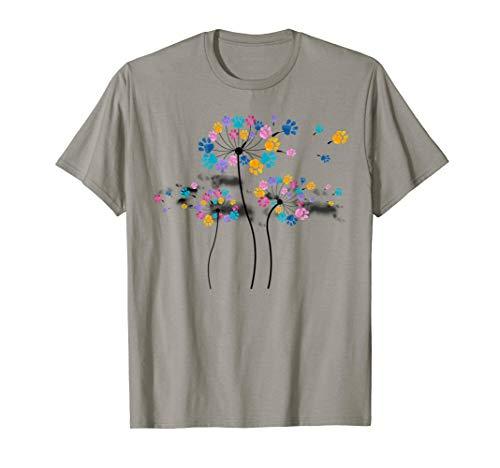 (Dog Flower Fly Shirt Dandelion Dog Paw, Flower Dog Floral T-Shirt )