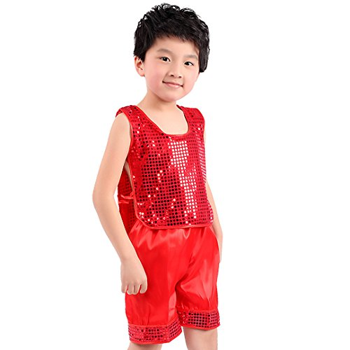 Multifit Boys Red Shiny Sequin Festival Dancing Costume with Shorts Halloween Costume Suit(Small) -