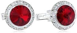 Silver Ruby Crystal Rondell Cuff Link